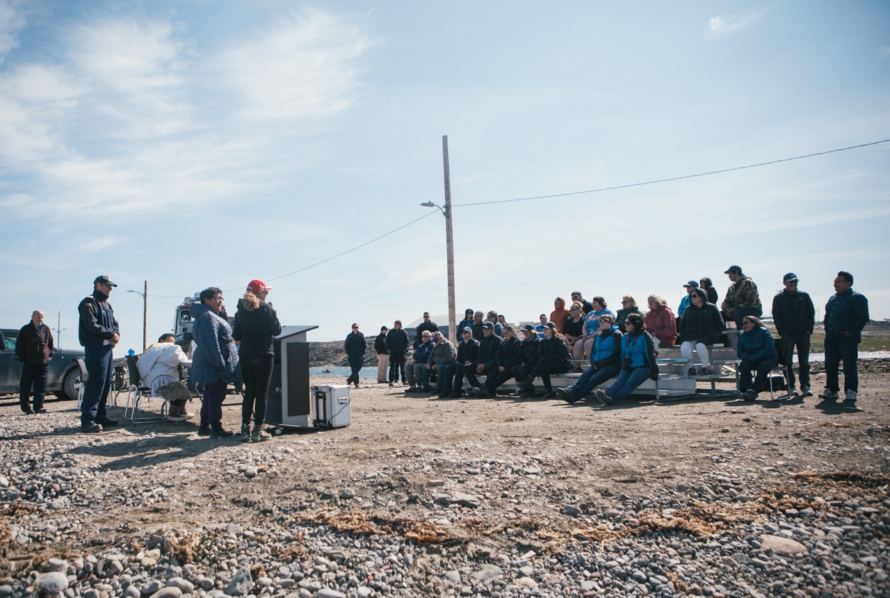 Rankin Inlet residents came out on July 26 to hear speakers at the official opening of the community's new Coast Guard inshore rescue boat station. (PHOTO COURTESY OF COAST GUARD/DFO)