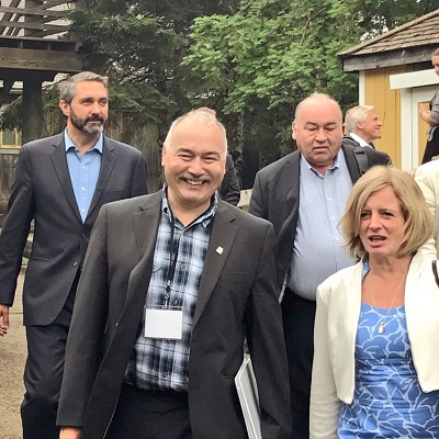Premier Savikataaq, left, is pictured with other Canadian premiers in New Brunswick last month; clockwise from left, Yukon premier Sandy Silver, Northwest Territories premier Bob McLeod and Alberta premier Rachel Notley. (PHOTO COURTESY OF GN)
