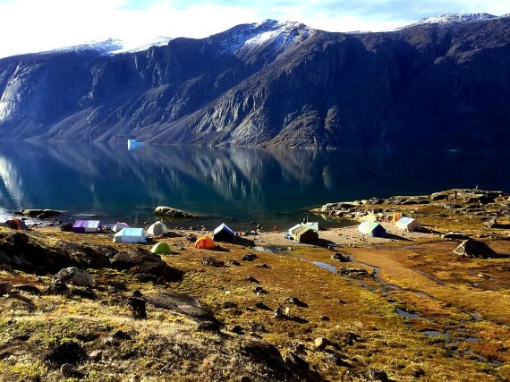 "Families camp at Mattaatujjanaq, or Matak Fiord, south of Qikiqtarjuaq over the Labour Day long weekend. ""Every single year, women pack up their tents and lug their kids to this spot to gather berries while their husbands harvest sea mammals,"" writes Maggie Kuniliusie. (PHOTO COURTESY OF IRENE ALIQATUQUQ)"