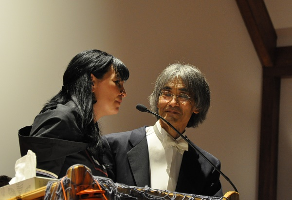 Inuktitut narrater Akinisie Sivuarapik and OSM maestro Kent Nagano close the performance of Chaakapesh in Kuujjuaq on Sept. 10. (PHOTO BY SARAH ROGERS)