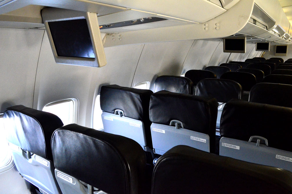 Here's a look inside the cabin of a Canadian North 737-300, outfitted with leather seats and an entertainment system, that began operating on the Iqaluit-Ottawa route in January 2017. In January 2019, the company will start offering television shows and movies that will stream to mobile devices and laptops. (FILE PHOTO)