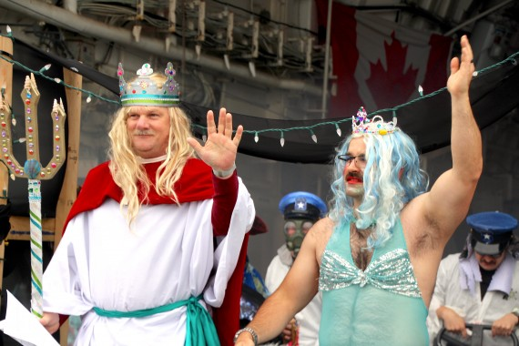 King Neptune and Queen Amphitrite greet the crew of HMCS Charlottetown. (PHOTO BY BETH BROWN)