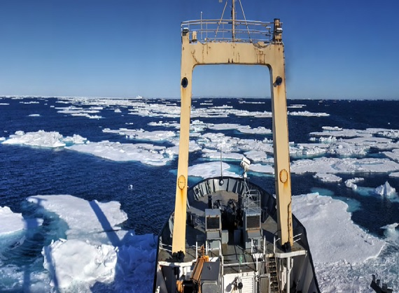 IT Telecomms' survey vessel the Polar Prince navigates its way through unusually late sea ice in the Hudson Strait, as it maps the sea bed along Nunavik's coast. (PHOTO COURTESY OF IT TELECOM)