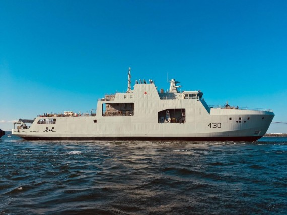 Irving Shipbuilding Inc. launched this vessel, HMCS Harry DeWolf, on Sept. 15. The navy will take over ownership of the ship next summer. (PHOTO COURTESY OF THE CANADIAN ARMED FORCES)