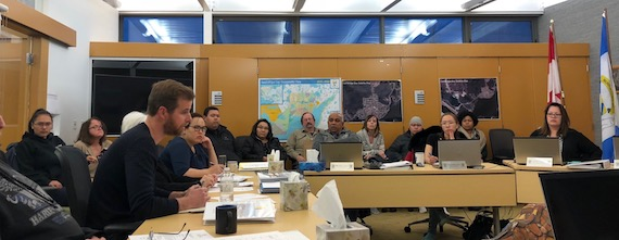 Local businessman Stuart Rostant speaks Oct. 10 during a teleconference held in the Cambridge Bay hamlet chambers to discuss the recent cancellation of a MTS barge. (PHOTO BY JANE GEORGE)