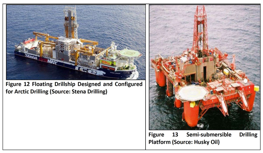 Here are the two types of vessels that could be used for exploratory drilling for oil and gas in Baffin Bay and Davis Strait. The photo on the left shows a drill ship, and the photo on the right shows a semi-submersible drillling platform. (STENA DRILLING/HUSKY OIL)