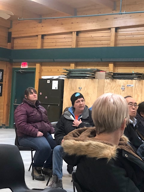 Disgruntled MTS customers in Cambridge Bay share stories about how the barge cancellation has affected them during an Oct. 3 meeting organized by the Kitikmeot Chamber of Commerce. (PHOTO BY JANE GEORGE)
