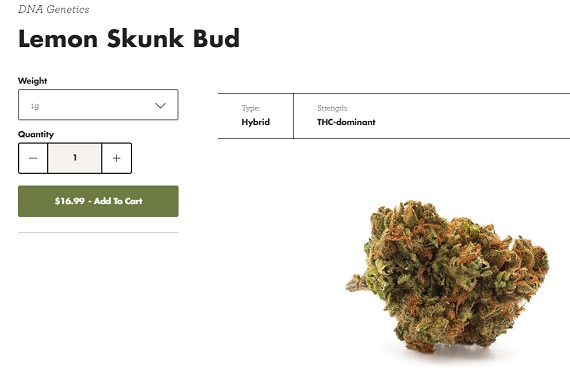 One of the four products currently offered at Tweed.com is a THC-dominant hybrid strain called Lemon Skunk, available at $16.99 a gram.