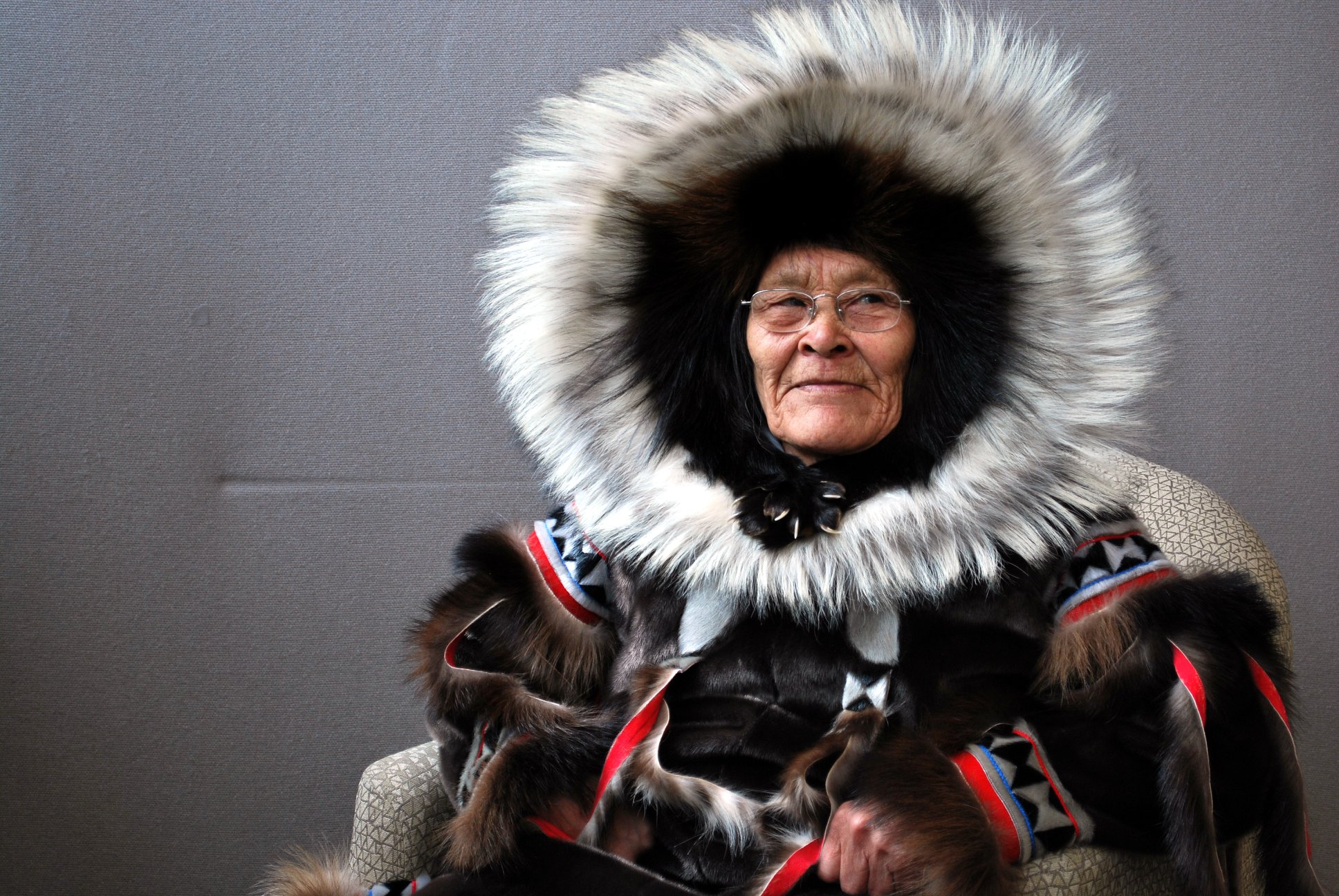 Cambridge Bay's Lena Ayalik Kamoayok, who served as an elder in residence and a board member for the Pitquhirnikkut Ilihautiniq—formerly known as the Kitikmeot Heritage Society—died Oct. 19 at the age of 79. She's seen here wearing an Inuinnait-style starburst-hooded fur parka.