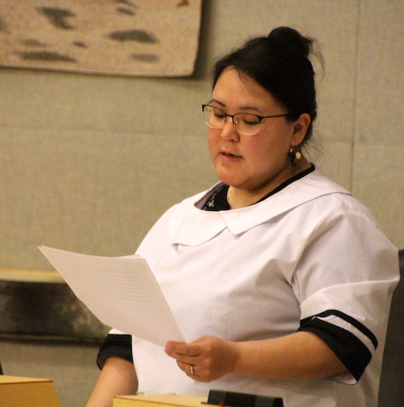 Speaking in the Nunavut legislature, Kugluktuk MLA Mila Kamingoak brought up the issue of the cancelled Marine Transportation Services barge that left many of her constituents in the lurch. (FILE PHOTO)