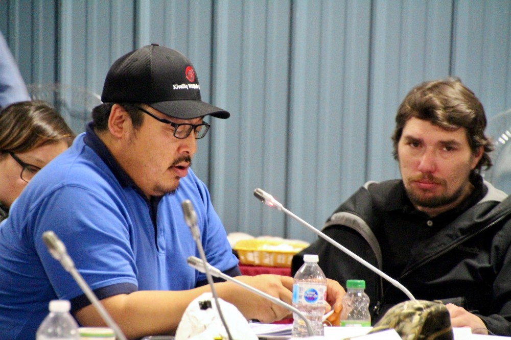 """What's more valuable, a cabin, a snowmobile, or a human life?"" Kivalliq Wildlife Board Vice-Chair Richard Aksawnee asks during polar bear management hearings in Iqaluit on Thursday, Nov. 15. The KWB wants public safety to be a priority in polar bear management, following the death of a man in Arviat and one in Naujaat this summer. (PHOTO BY BETH BROWN)"