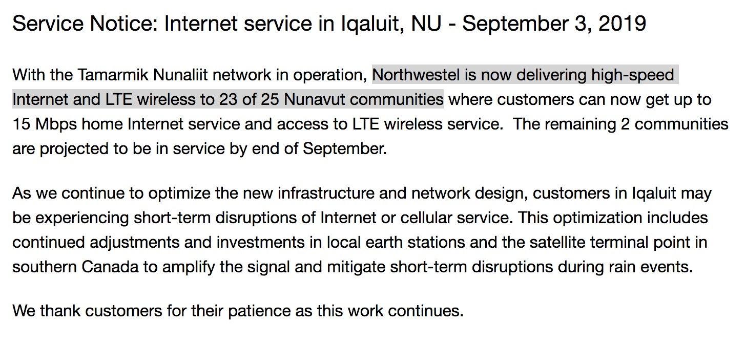 Northwestel's subsidized backbone network still less than