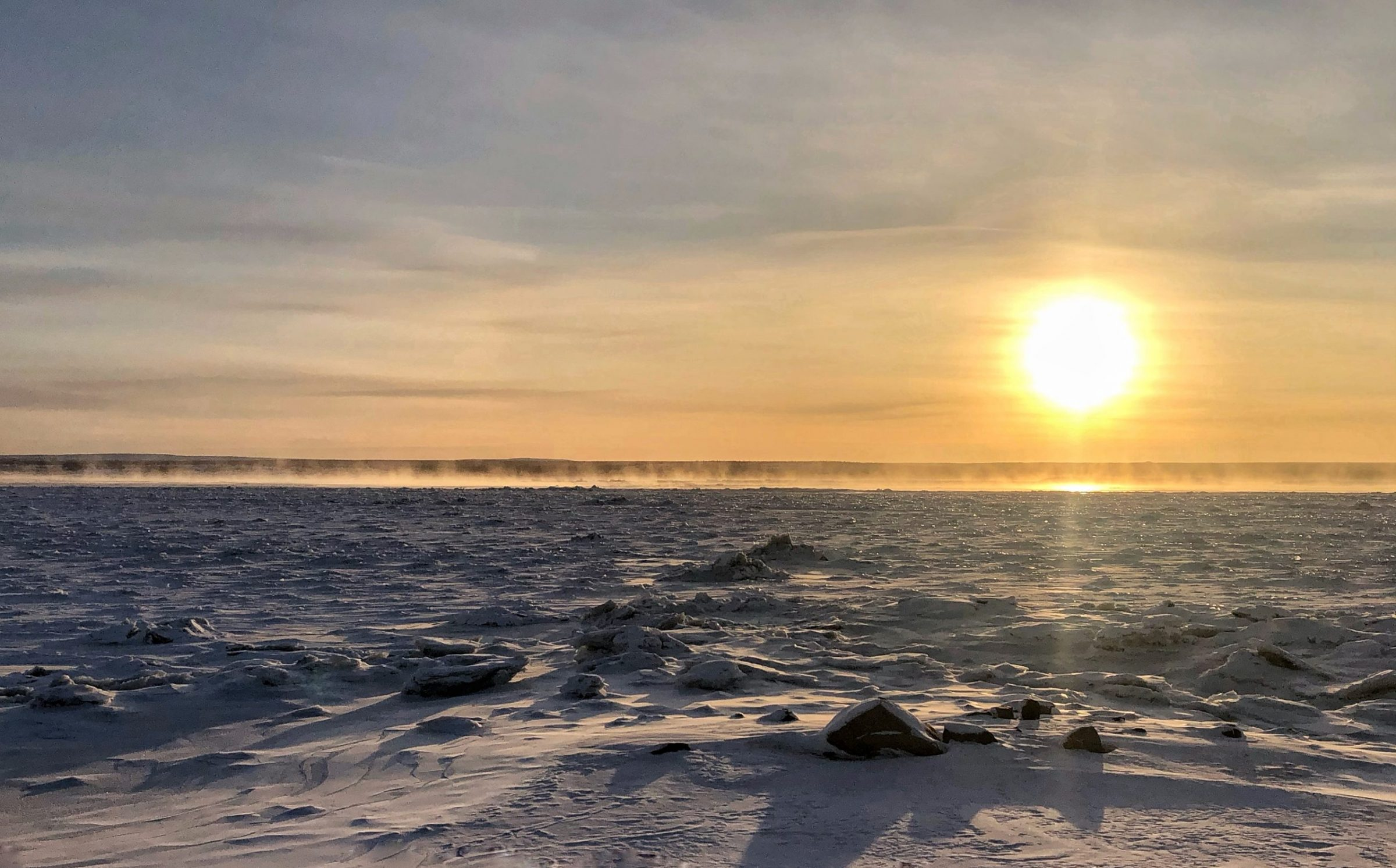 Water vapour rises off the freezing Koksoak River near Kuujjuaq on the morning of Dec. 17. (Photo by Isabelle Dubois)