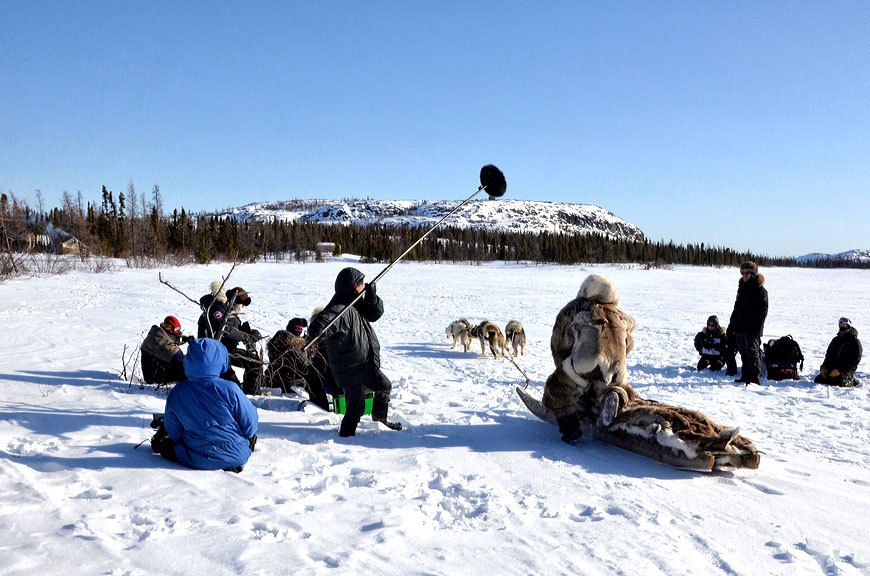 Marie-Helene Cousineau and Madeline Ivalu shared the best director award at the first Indigenous Screen Awards held at the Winnipeg Aboriginal Film Festival Dec. 31 for their work on Restless River, seen here being filmed in April 2018 in Kuujjuaq. Restless River's lead actress, Malaya Qaunirq Chapman, also received a nomination for best actress. (Photo by Isabelle Dubois)