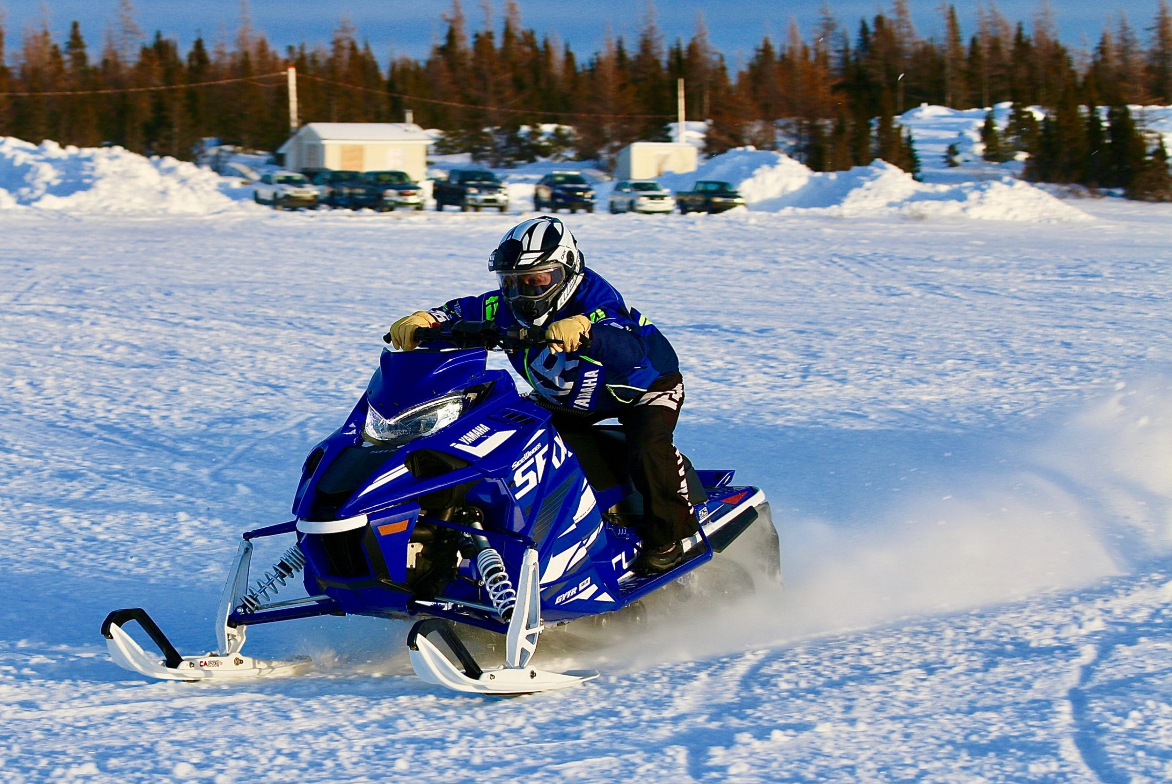 Jeanie May competes in snowmobile races held by the Kuujjuaq Sivulirtisait Youth Committee Jan. 10. May won both her division categories, in time trials and in a race against five other women. The races are held each year around a course at Stewart Lake. (Photo by Malaya Qaunirq Chapman)