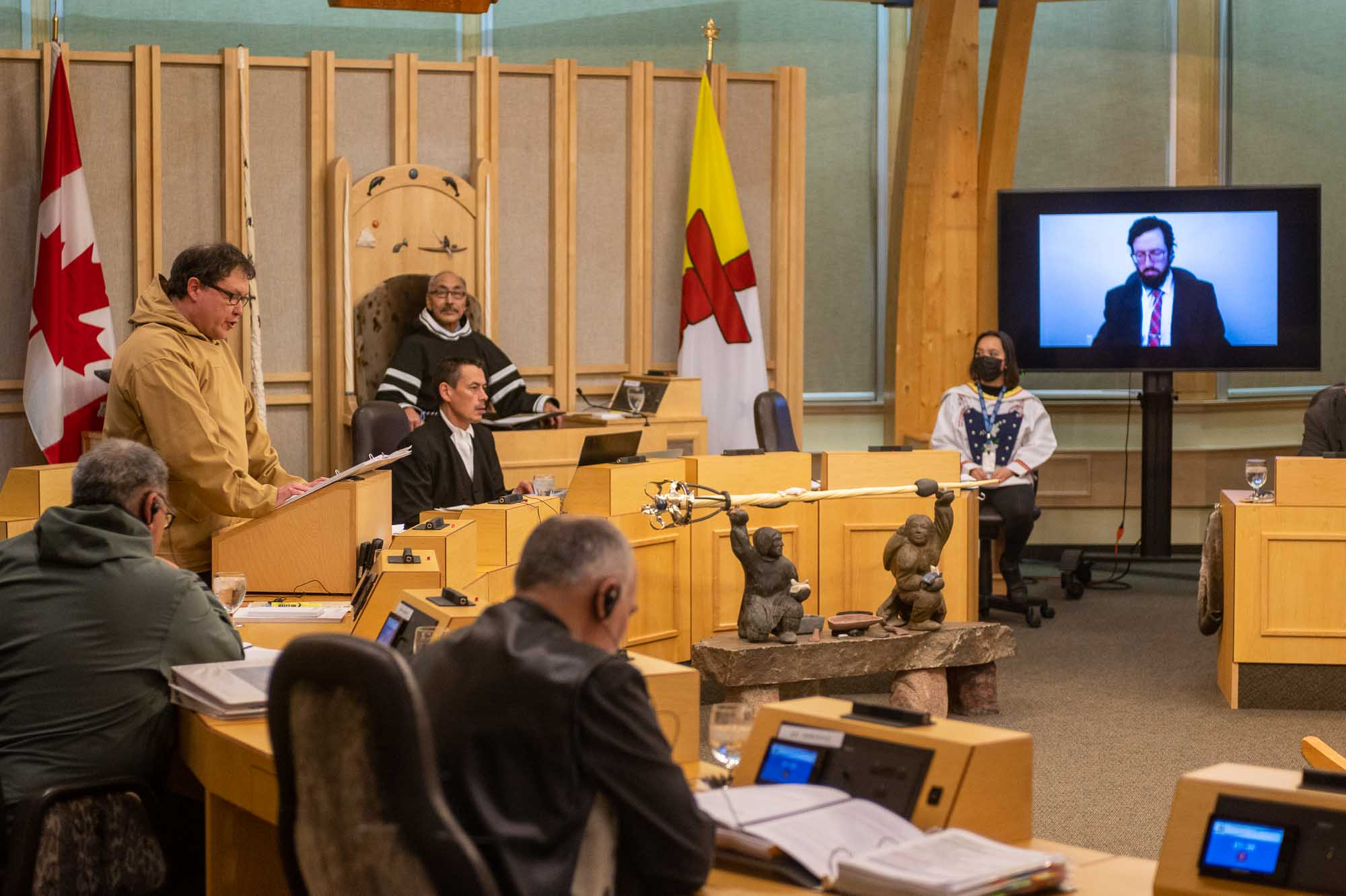 The Government of Nunavut is in good financial shape despite the effects of the COVID-19 pandemic, says Finance Minister George Hickes, who presented the territorial government's budget for 2021-22 Tuesday afternoon in the legislature. Hickes forecast almost $2.4 billion in revenue for the coming fiscal year. (Photo by Dustin Patar)