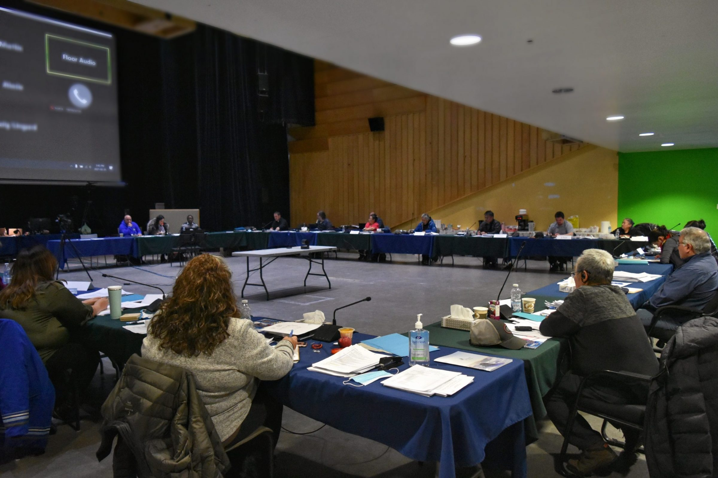 Kativik Regional Government regional councillors met last week at the Katittavik Town Hall in Kuujjuaq Feb. 22-25 — the first time the organization has held an in-person meeting of its regional councillors since last February. A group of photojournalism students from Jaanimmarik school took photos of the meetings for Nunatsiaq News on Thursday, led by instructor Isabelle Dubois. (Photo by Annie Lock)