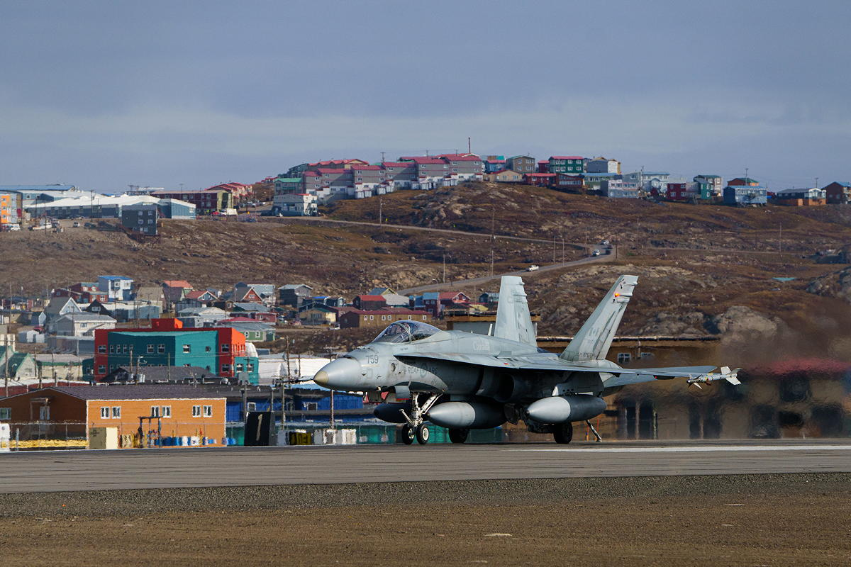 A Royal Canadian Air Force CF-18 Hornet fighter jets is seen in Iqaluit Thursday afternoon. Four of the jets have been deployed as part of a NORAD Arctic defence exercise, Operation Noble Defender, which continues until Sept. 14. (Photo by Bill Williams)