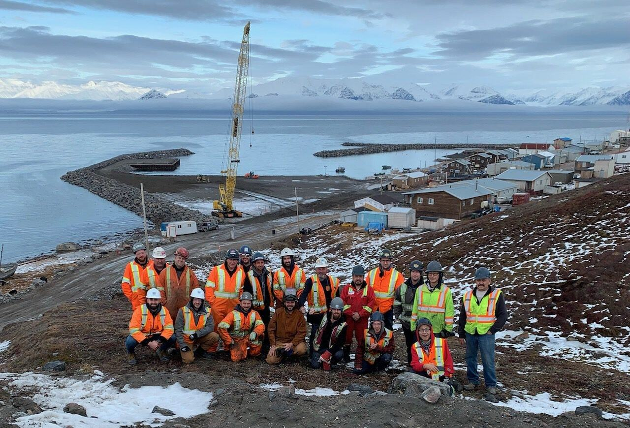 The construction of Pond Inlet's new small craft harbour wrapped up this week, as the winter approaches and the construction season comes to an end. (Photo courtesy of Tower Arctic)