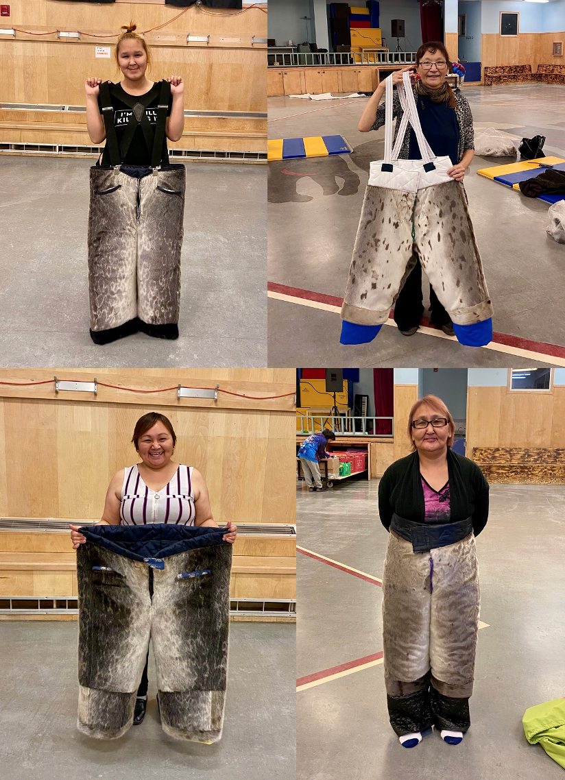 Students in Pond Inlet show off sealskin wind pants they made in a local sewing class. The sewing program is held on Tuesdays and Thursdays at the community hall. The materials for the classes were provided by funding through the First Nation and Inuit Cultural Education Centres Program. Clockwise from top left: Deanna Panipakoocho, Agnowyak Kilukishak, Rebecca Killiktee and Celina Satuqsi. (Photos courtesy of Theresa Dalueg)